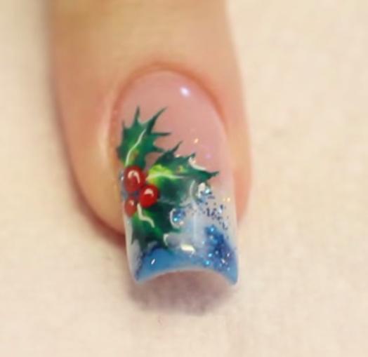 Christmas Nail Art Holly And Berries Christmas Acrylic Nail Art