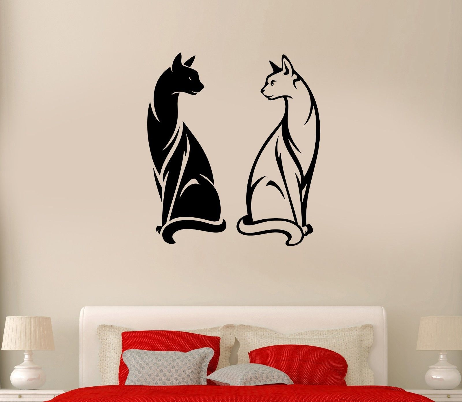 Fashion animal wall decal cats pet animal black and white couple yin