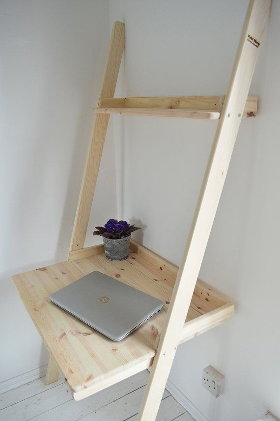 Modern Hand Made Desk Pine Wood Computer Home Office by PobiShop