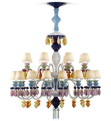 Belle de nuit 24 lights chandelier multicolor ceuk lladro chandelier in multicolor chandelier entirely made in porcelain mozeypictures Images