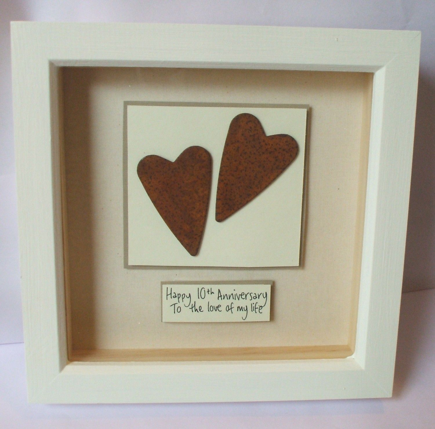 10th Wedding Anniversary Rusty Tin Hearts Gift By Heartboxart