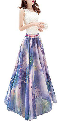 439efc1859 Afibi Womens Blending Chiffon Retro Long Maxi Skirt Vinta... https://