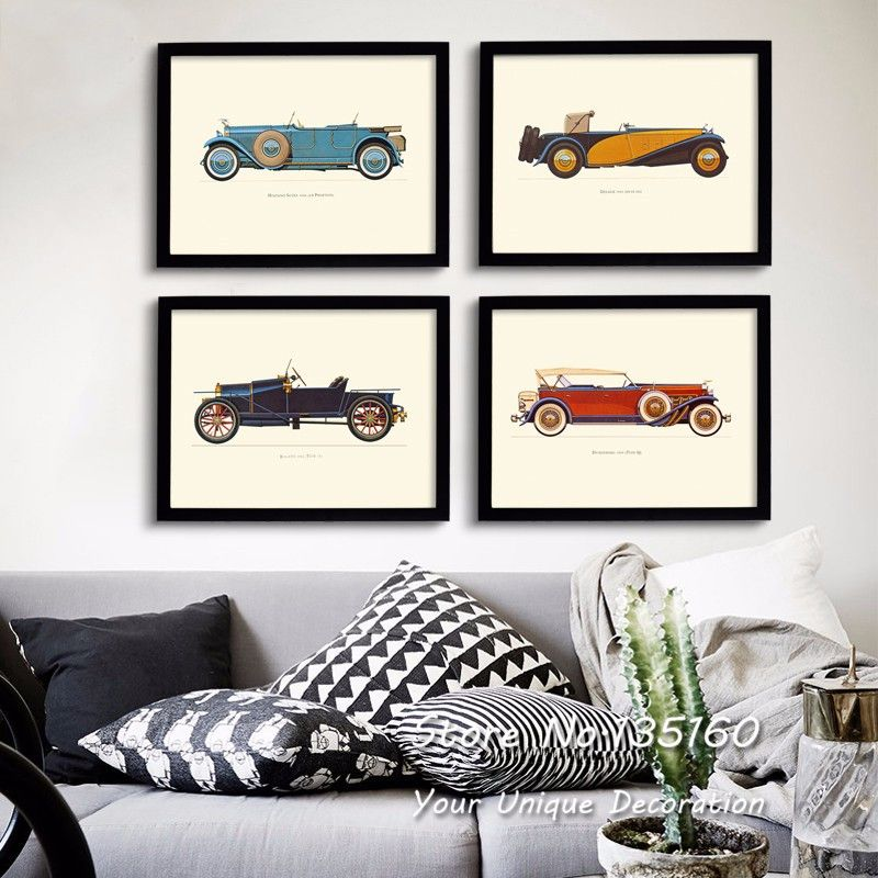 Classic Cars Canvas Art Vintage Room Decor Multi Panel Carts Wall Pictures Oil Painting On Canvas Livin Wall Art Pictures Car Wall Art Wall Art Canvas Painting