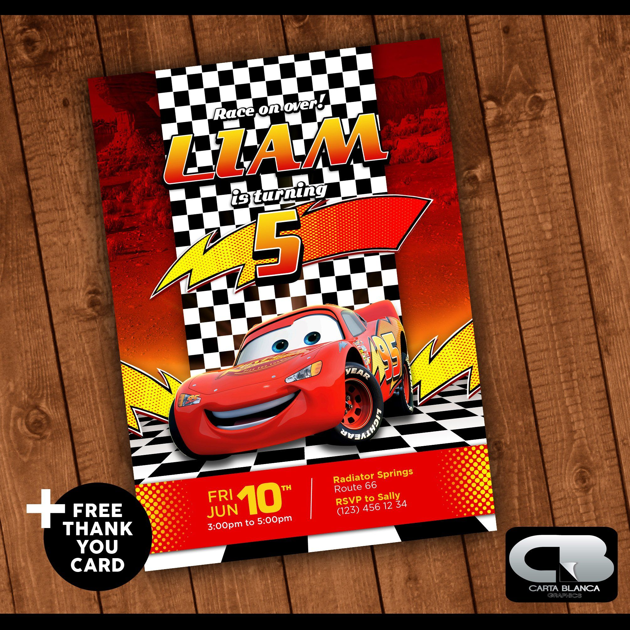 Cars invitation with thank you card digital download