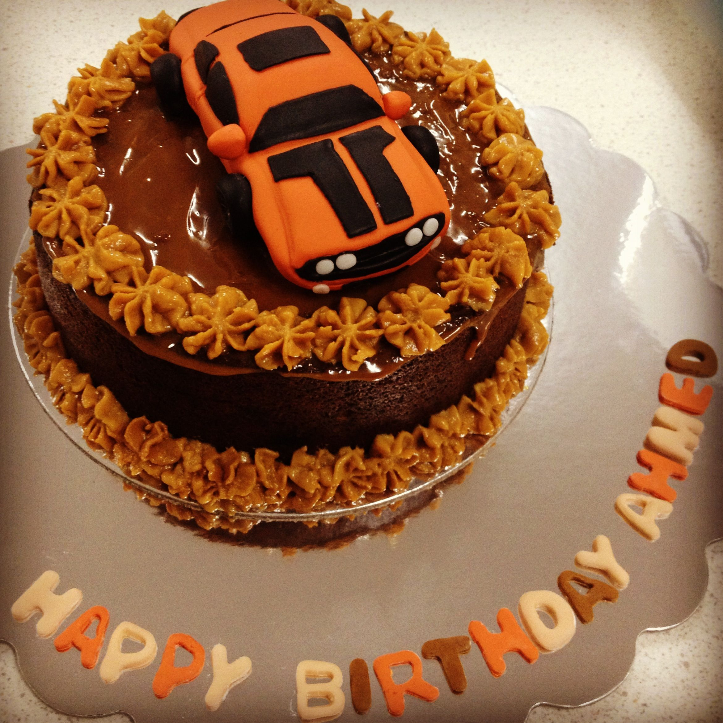 Fondant Challenger Dodge Car On My Favourite Sticky Toffee Date Cake