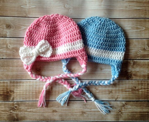Hey, I found this really awesome Etsy listing at https://www.etsy.com/listing/162156703/twin-beanies-in-baby-pink-baby-blue-and