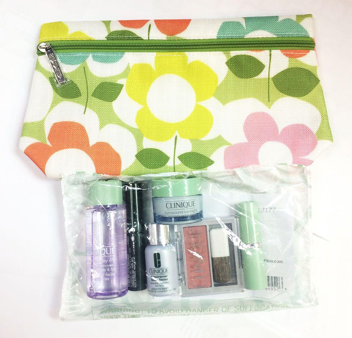 SALE NEW CLINIQUE 7pc Bonus Gift Set w/flowers bag! SALE