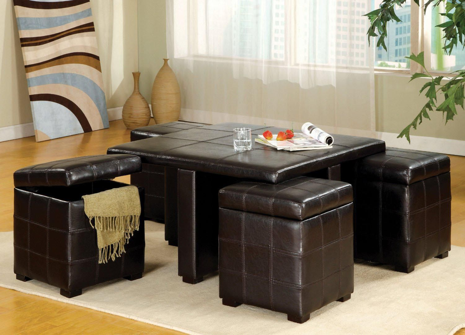 Glass Coffee Table With Stools Underneath Coffee Table With