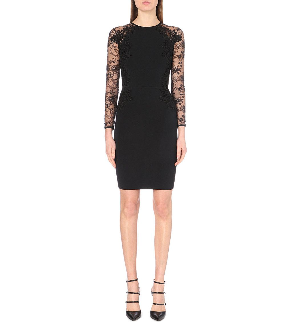 ELIE SAAB - Lace-insert fitted dress | Selfridges.com
