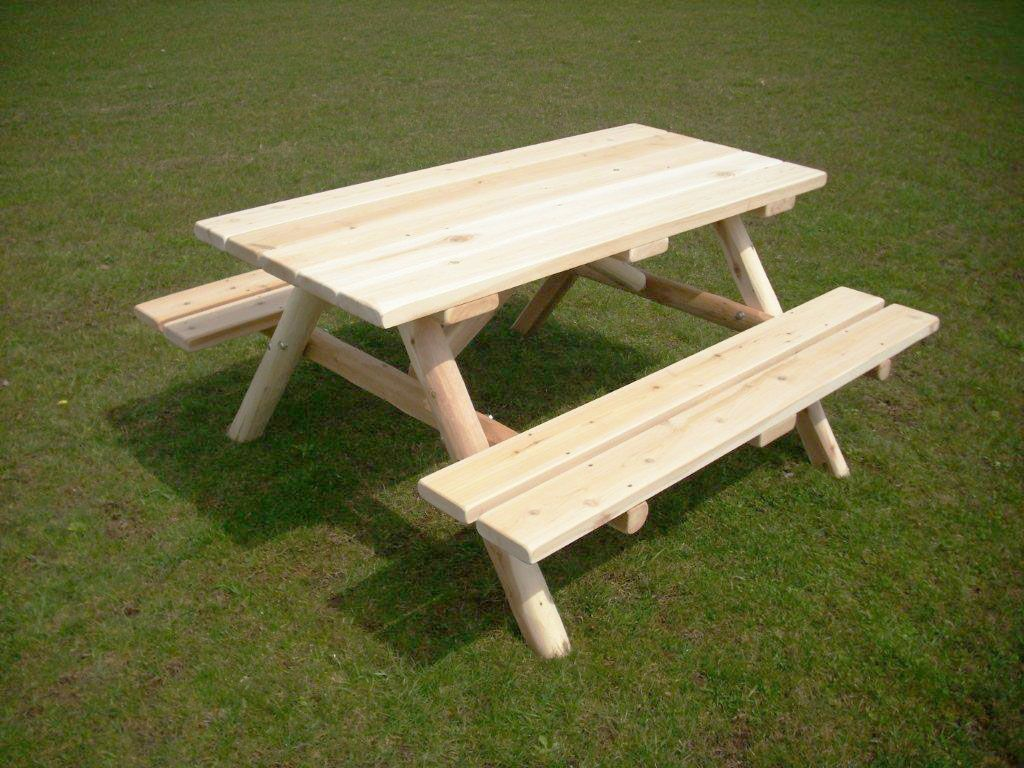 Unfinished White Cedar Log Picnic Table With Attached
