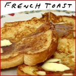 French Toast Casserole  (8 servings)     2 loaves sour dough bread - crusts removed  1 package cream cheese  1 Tablespoon sugar  1 tart apple  6 eggs  1 cup milk  1 and 1/2 teaspoon cinnamon  In a medium bowl, beat together eggs, milk and cinnamon.    Seperately:  Cut bread in half and layer half in casserole dish. Pat on cream cheese. Sprinkle on sugar and slices of tart apple. Add rest of bread and repeat.     Pour mixture of eggs, milk and cinnamon over all. Bake at 375 degrees for 35…