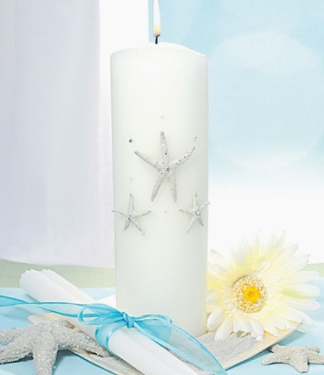 Beach Wedding Candle Ceremony: Starfish Unity Candle & Tapers Set Beach Wedding Ceremony