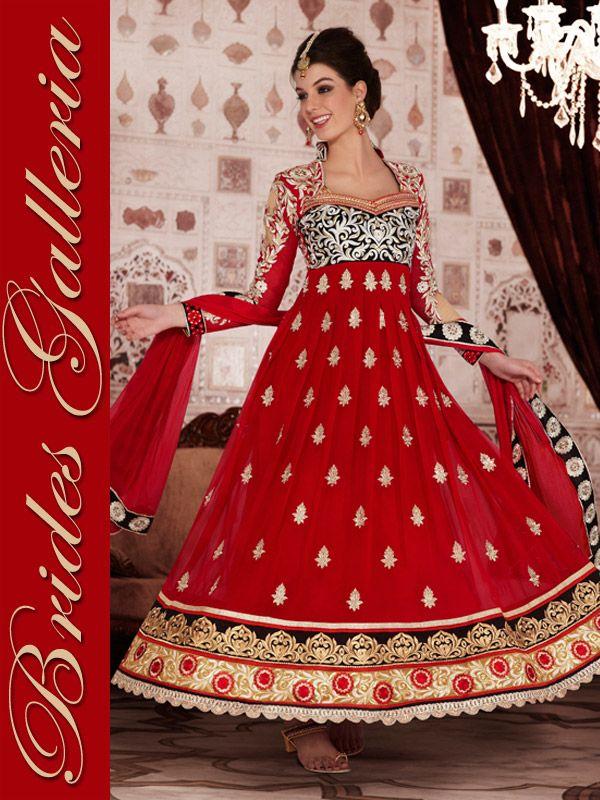 Red Designer Anarkali Suit Red Designer Anarkali Suit [BGSU 13172] - US $121.54 : Designer