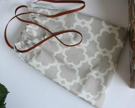 Borsa in stoffa foderata con manici in cuoio  : Altre borse di notonlyteddy