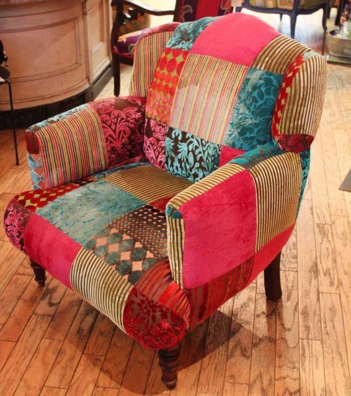 Le fauteuil patchwork une pi ce boho chic pour faire votre int rieur vibrer - Fauteuil tissu patchwork ...