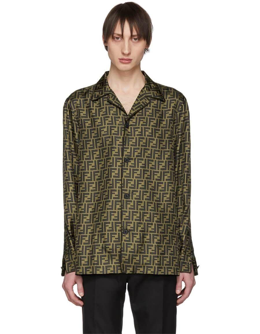 15f6ebac h3>FENDI</h3> Brown & Black Silk 'Forever Fendi' Pyjama Shirt in ...