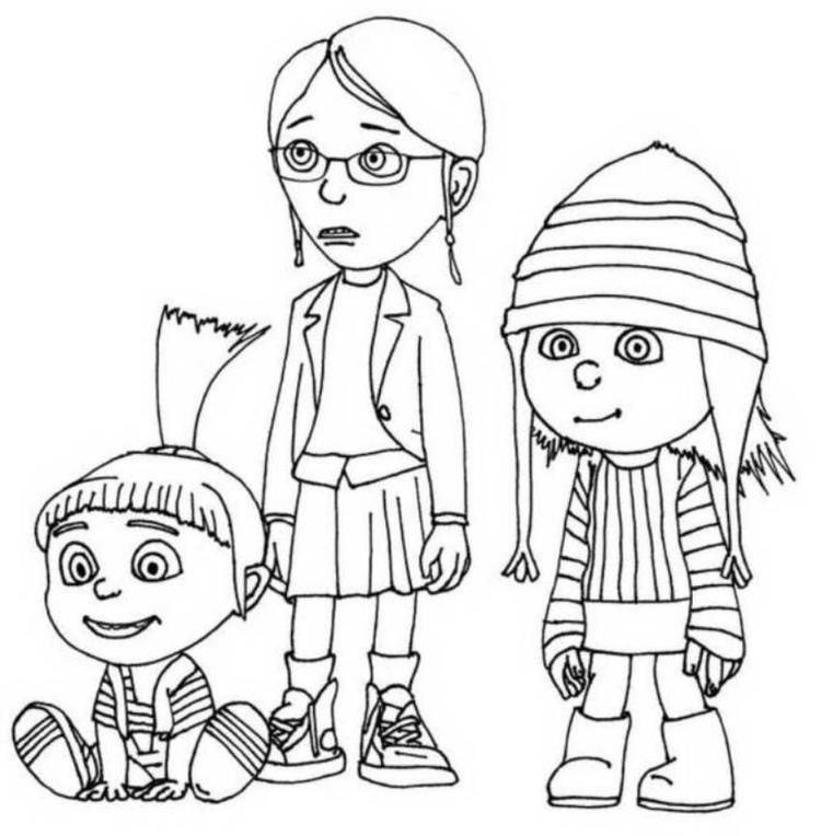 Despicable Me Margo Edith And Agnes Coloring Pages Minion