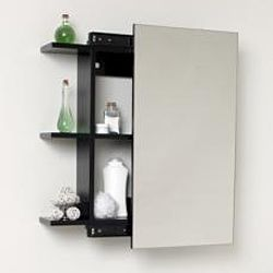 overstock the fresca medicine cabinet features a sliding mirror door and six wooden shelves