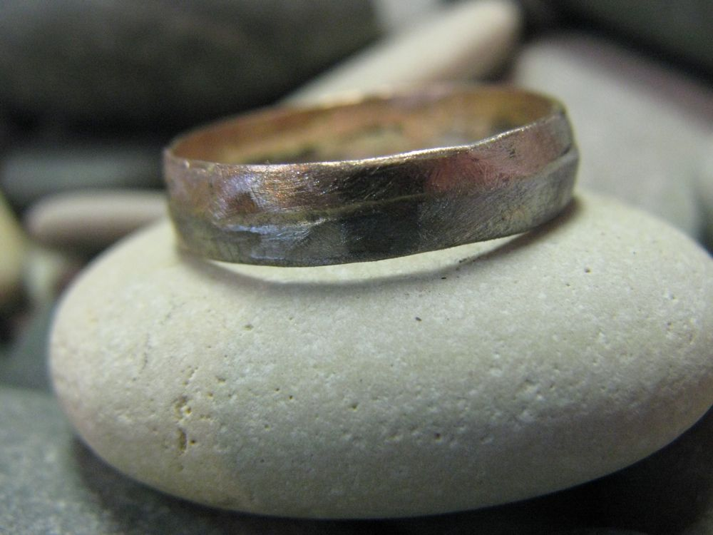 wwwemilywisercom mens rugged wedding ring in 14k rose gold and palladium - Palladium Wedding Rings