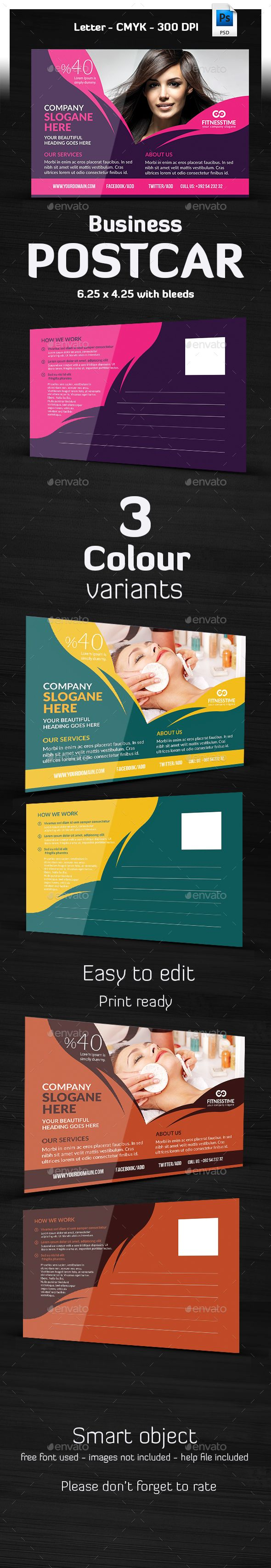 Hair & Beauty Salon Postcard Template — Photoshop PSD #snow #joy ...