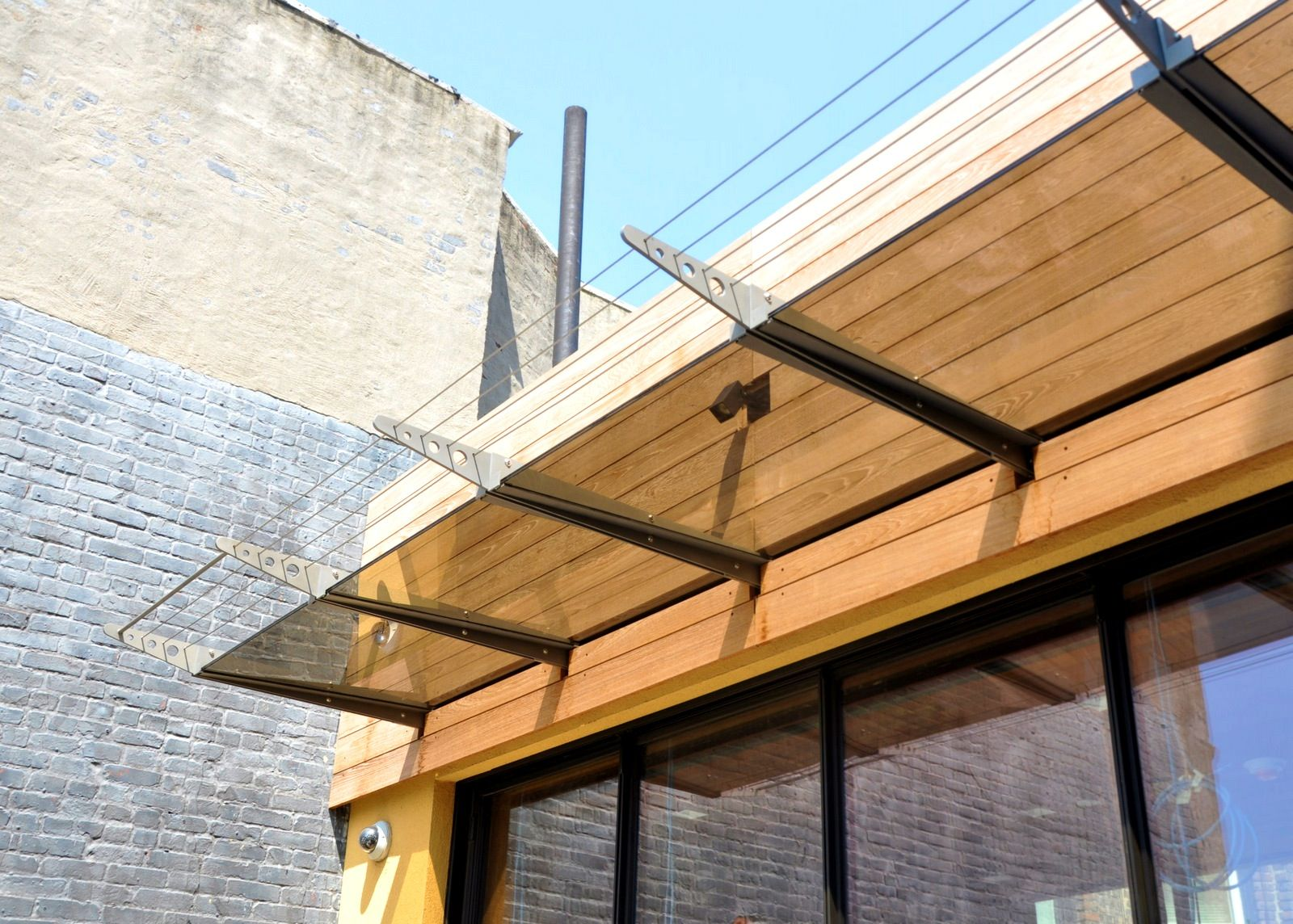 apartments:glamorous wood paneling steel and canopies modern