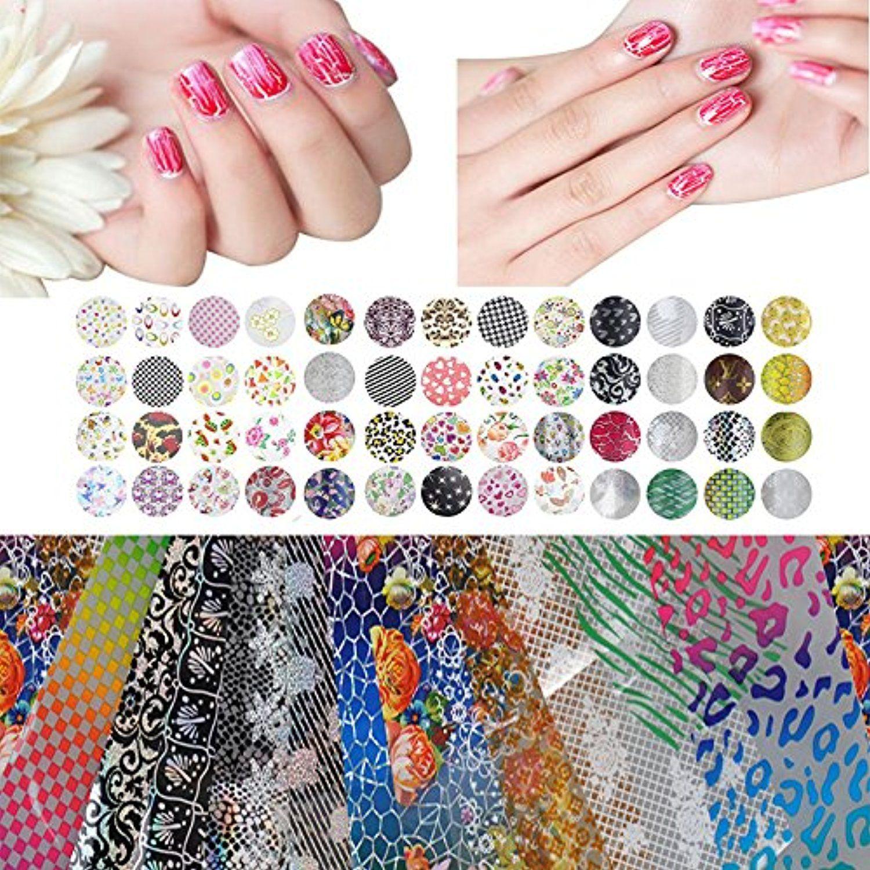 Biutee 50/25 Pcs Mix Color Fashion Design Nail Art Transfer Foil ...