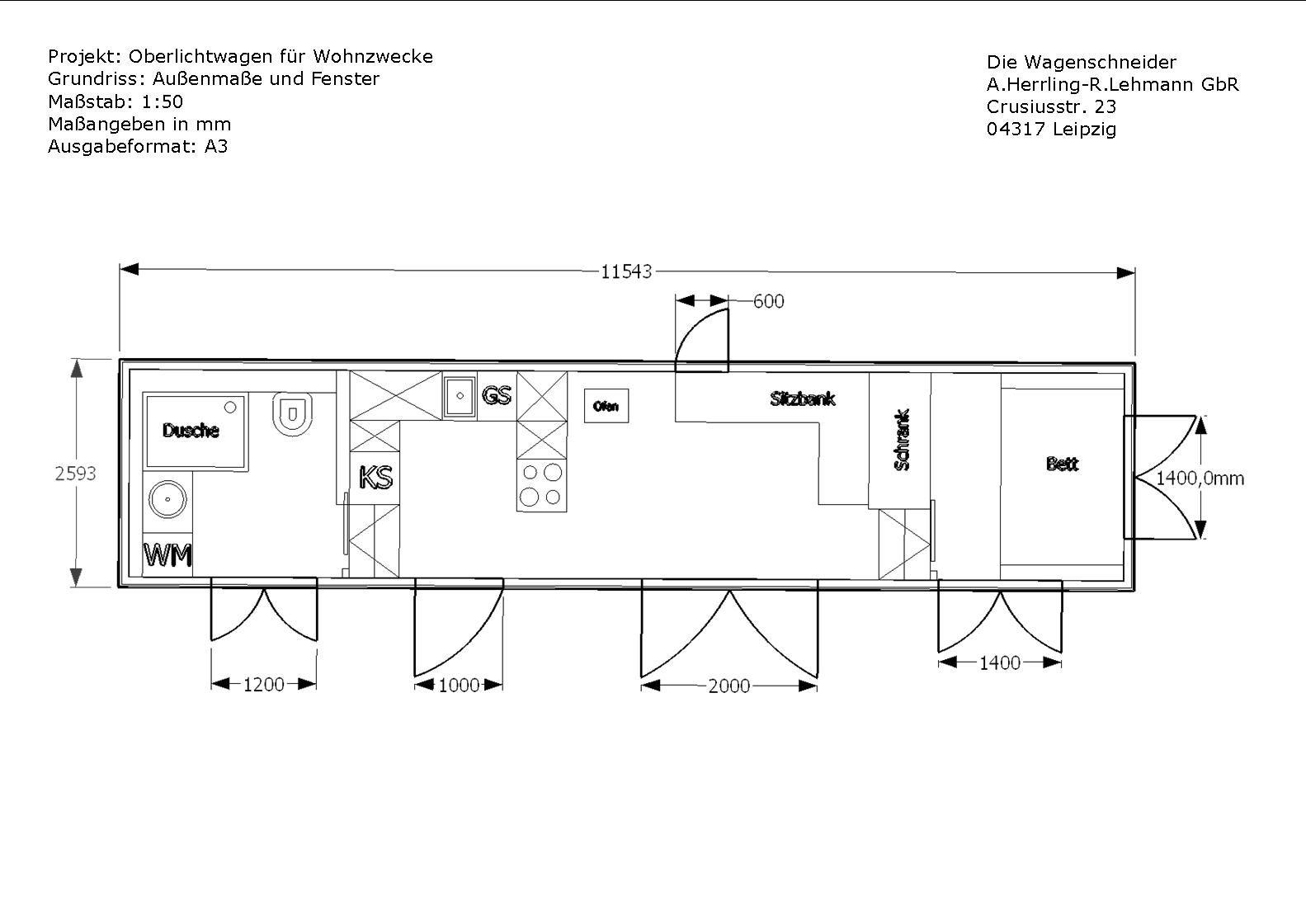 grundriss mit ma en f r fenster und t ren zirkuswagen. Black Bedroom Furniture Sets. Home Design Ideas