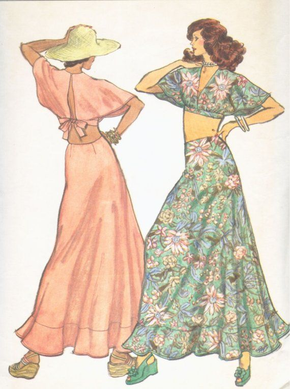 70's midriff top and long skirt