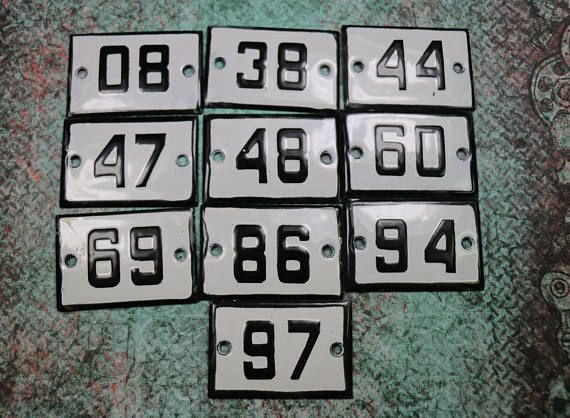 1 Antique Porcelain House Number Plate : antique number plates - pezcame.com