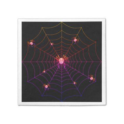#Pretty Pink Spider Halloween Napkin - #Halloween happy halloween #festival #party #holiday