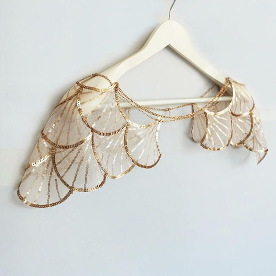 gold sequined bridal capelet shoulder harness wedding cape chain flapper shrug sequin wing. Black Bedroom Furniture Sets. Home Design Ideas