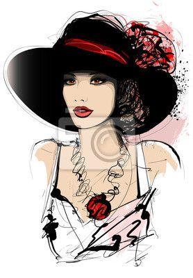 Mujer con sombrero sobre fondo blanco en la oferta de PIXERS.  8421eb4a56e
