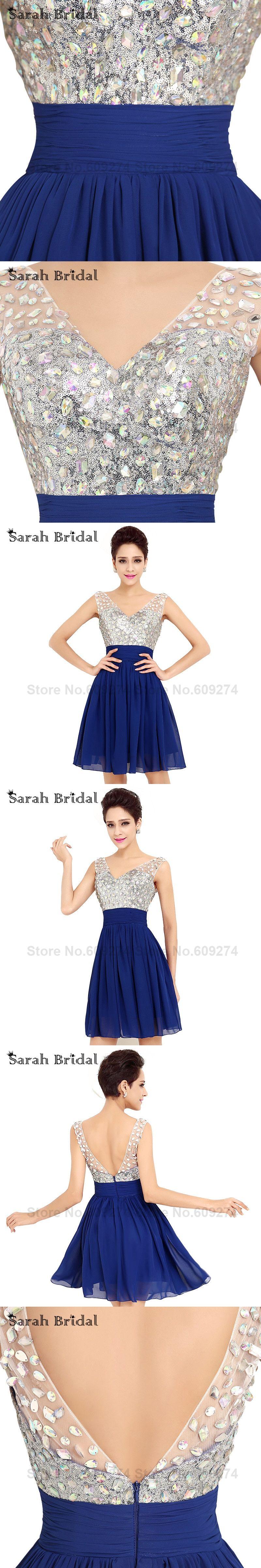 Cute navy blue short prom dresses cheap aline mini beads vneck