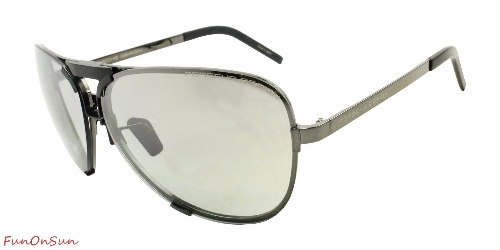 c51838a5f076 Porsche Design Men s Titanium Sunglasses P8678 A Dark Gun With 2 Set of  Lenses