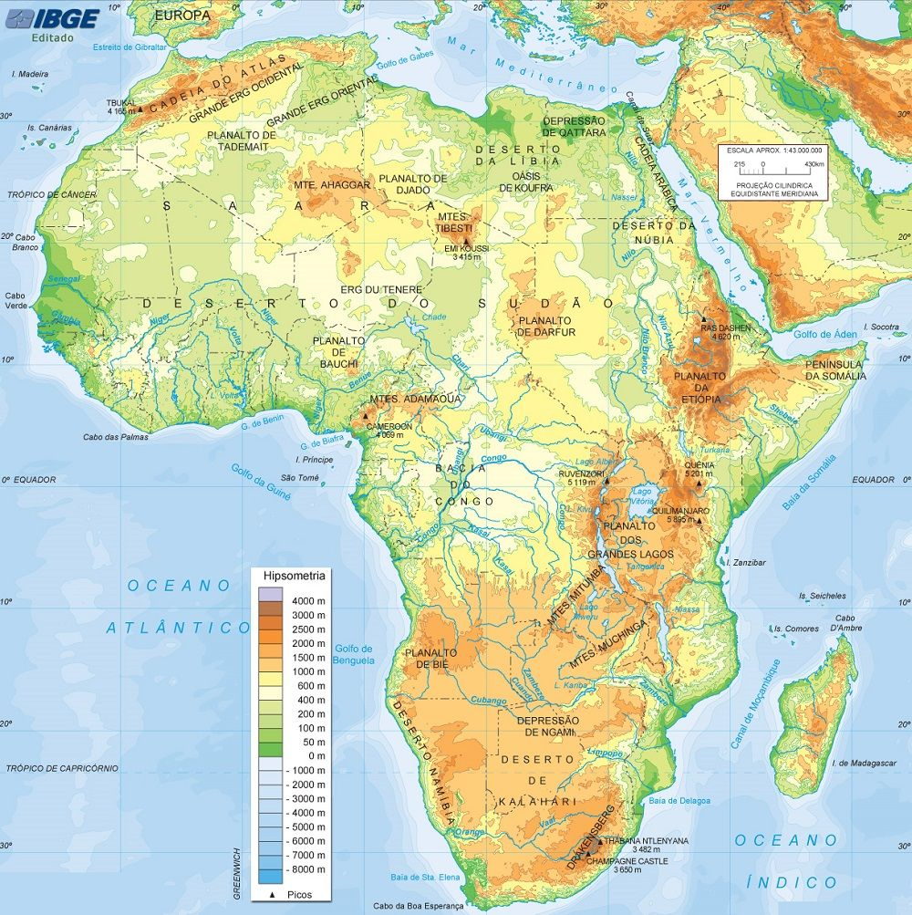 Mapa Fsico da frica  Geography  Pinterest  Geography