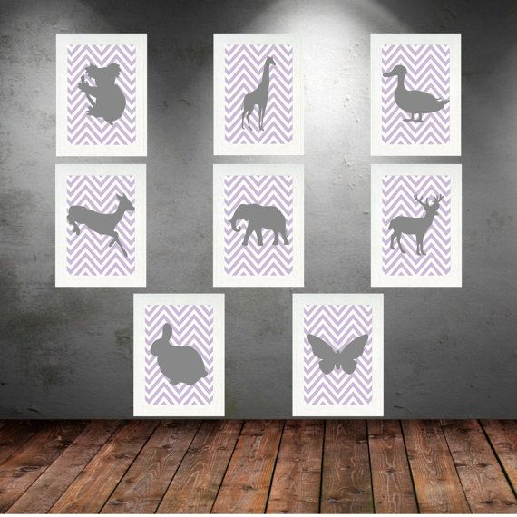 Gray and Purple Nursery Wall Art  Set of 16 Prints by KeiraKloset #‎HEPTEAM‬