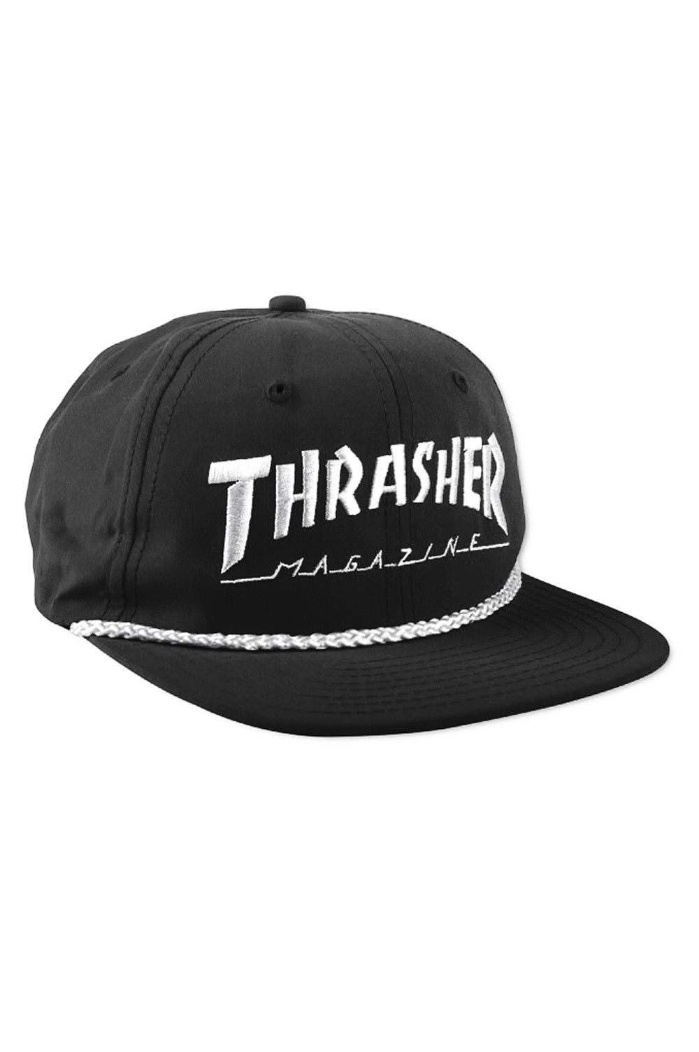 The Thrasher Rope Snapback Hat from Thrasher Magazine. The perfect  lightweight and structureless hat for a heated session. Features an  embroidered Thrasher ... a58d1f67b668