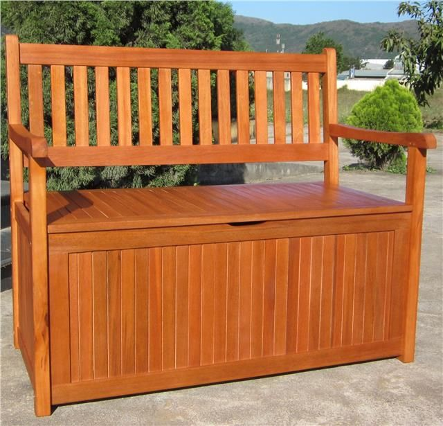 Hardwood Wooden Garden Storage Bench 2 And 3 Seater Wood Bench