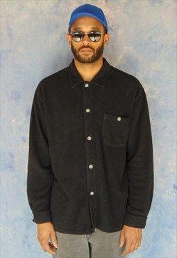 90s Minimalist Nubby Black Workwear Shirt Jacket XL