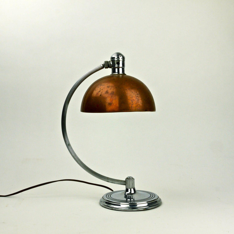 Rare Antique American Art Deco 1930s Chase Brass And Copper Etsy Art Deco Lamps Art Deco Lighting Art Deco