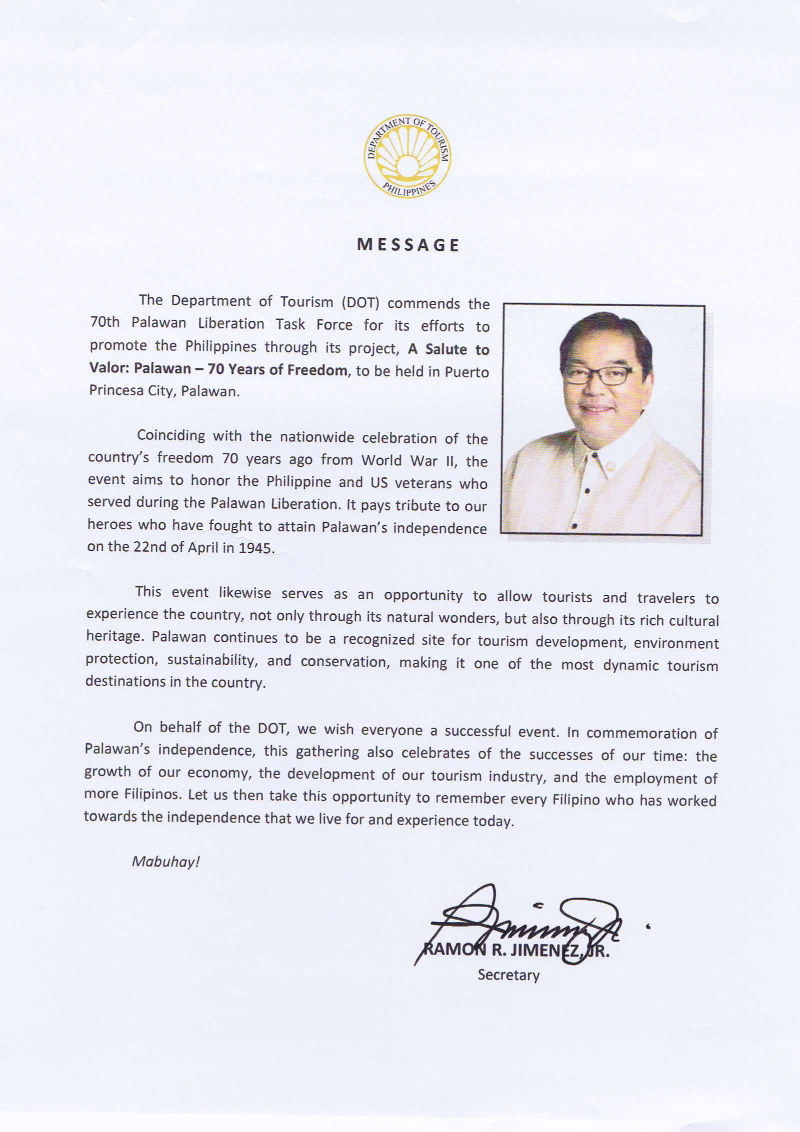 Department Of Tourism Secretary Ramon R Jimenez Jr Writes A