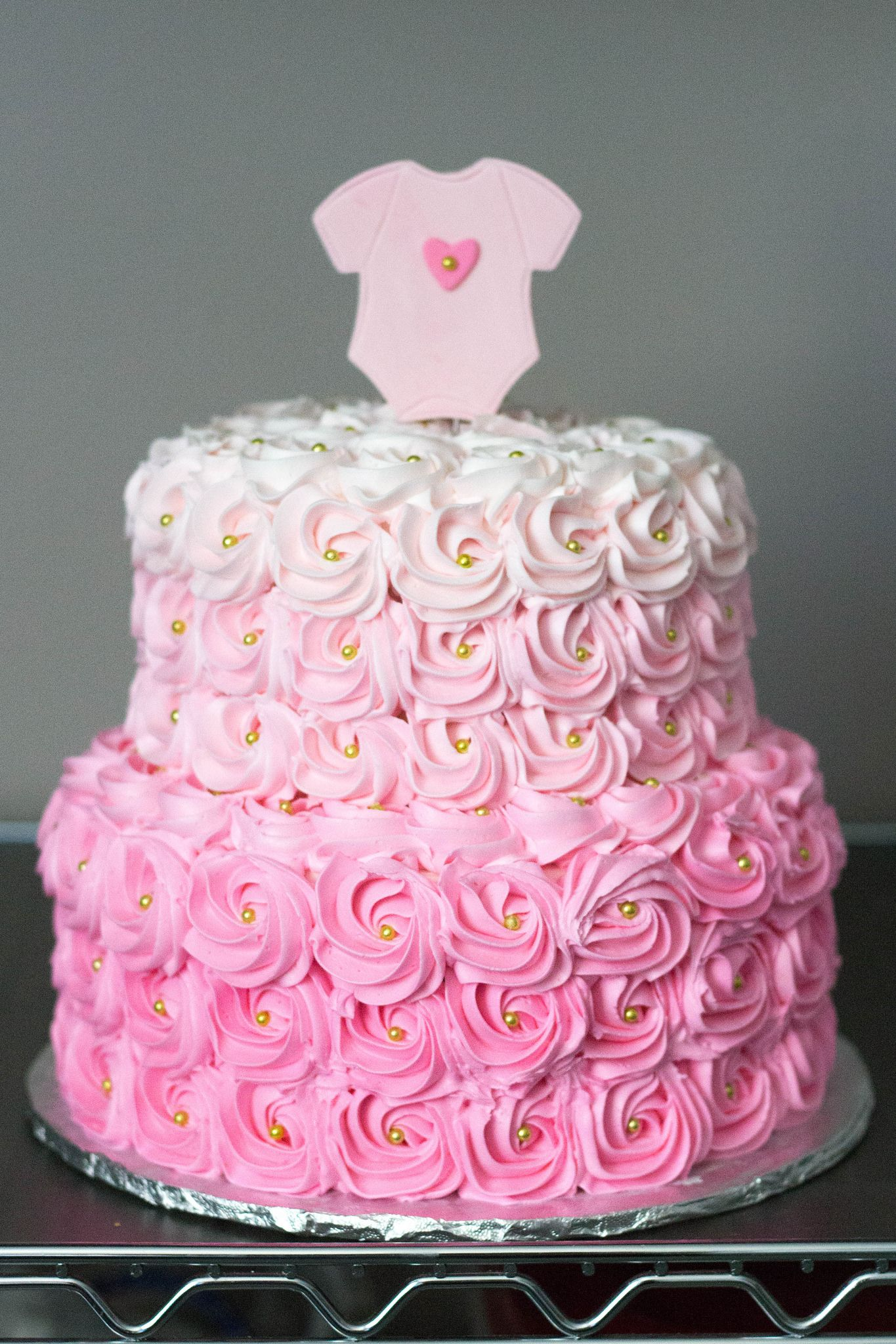 Pink Ombre Rosette Baby Shower Cake With Images Baby Shower