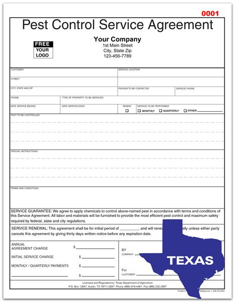 Pest Control Service Agreement For Texas  Custom Print For Pest