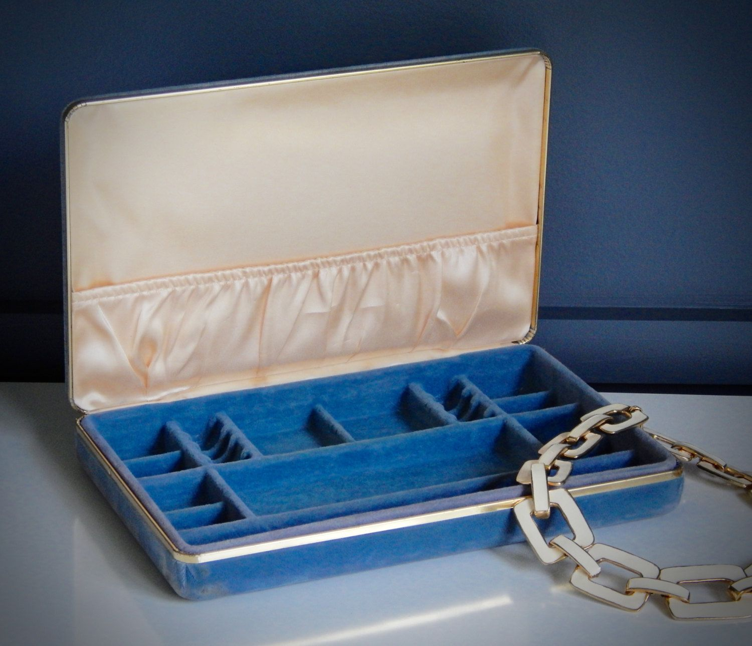 Vintage Blue Velvet Jewelry Box Hinged Travel Jewelry Box Satin