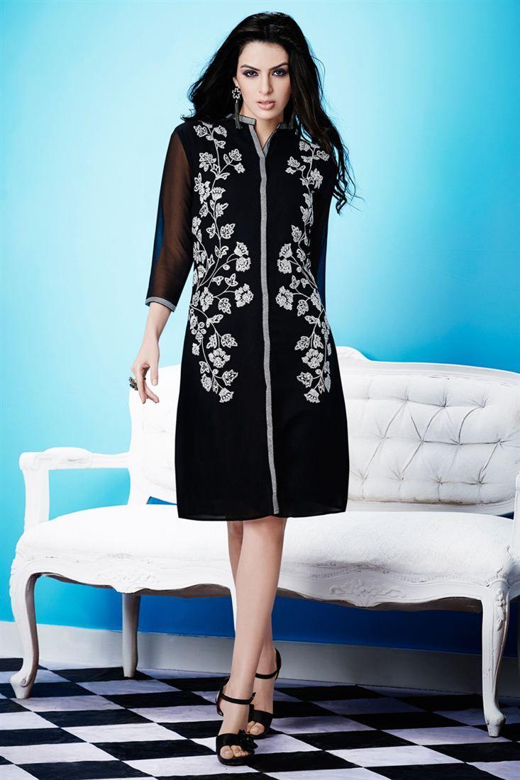 Fabulous Black Color Designer Kurti | Printed Party Wear Kurti ...