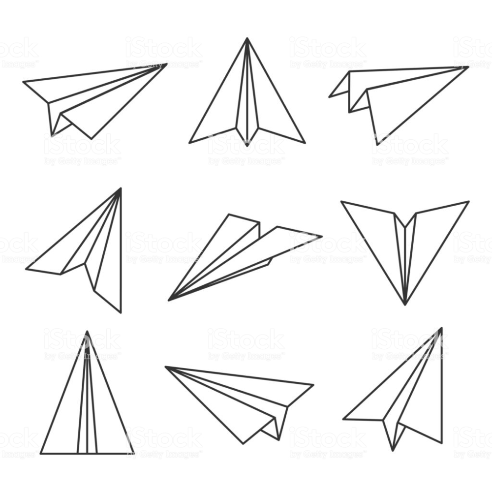 Paper Plane Outline Glider Made Out Of Folded Paper Toy
