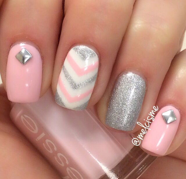Pink & silver girly nails by Instagram user @ melcisme - Pink & Silver Girly Nails By Instagram User @ Melcisme Nail