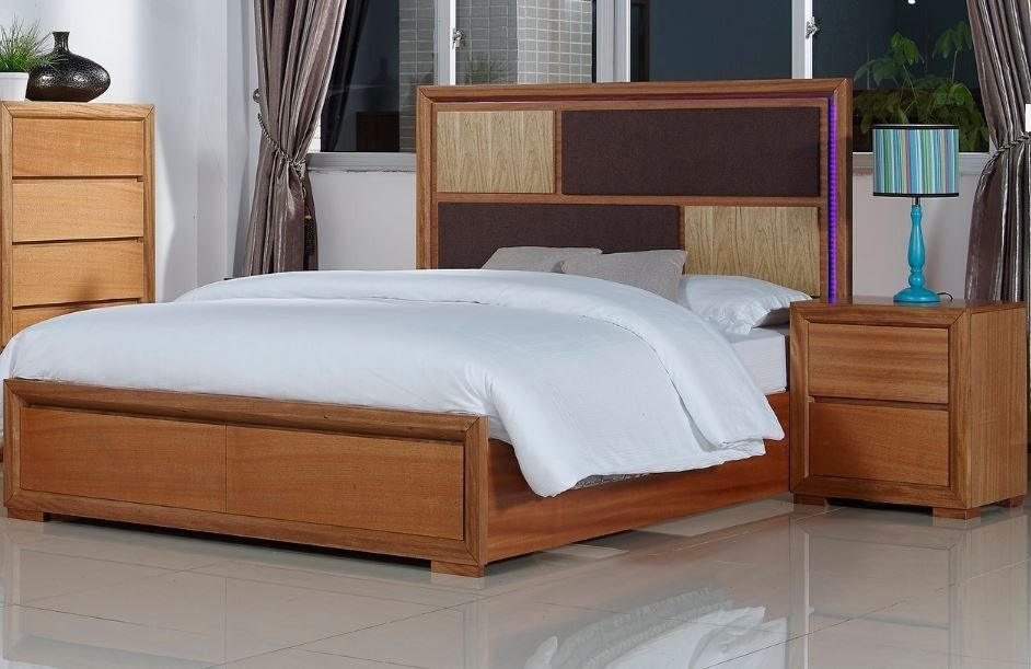 Queen Island Bed Frame With 2 Drawers And Led Lights Marple Bed