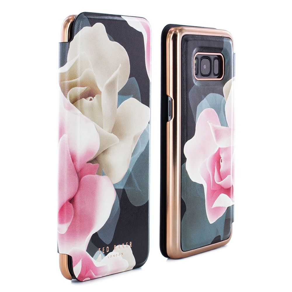 5afaff616 Ted Baker AW16 KNOWANE Mirror Folio Case for Samsung Galaxy S8 | Porcelain  Rose | Black | Proporta