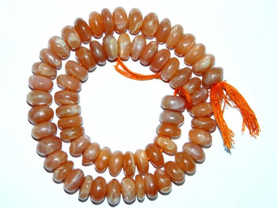 Moonstone Rondelles Smooth Peach by GemsPebblesandBeads on Etsy, $28.00